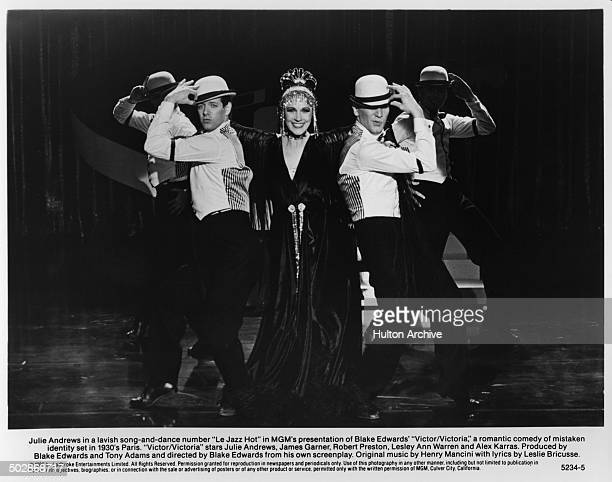 Julie Andrews performs on stage in a scene of the MGM movie 'Victor Victoria' circa 1982