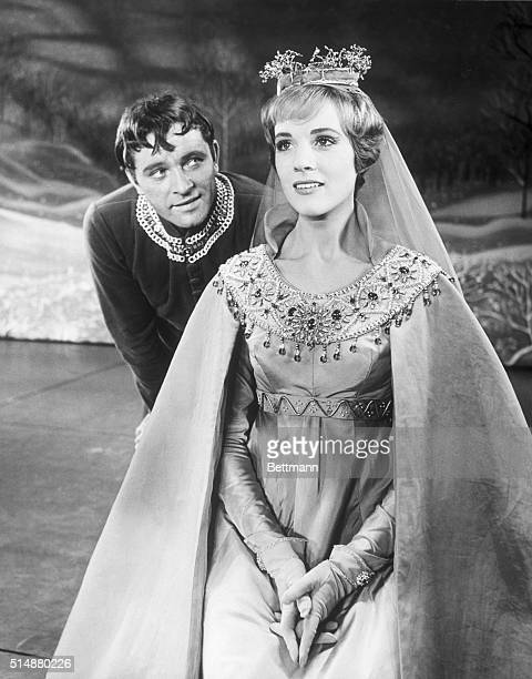 Julie Andrews plays Queen Guinevere and Richard Burton plays King Arthur in the Broadway hit musical Camelot New York City New York