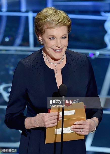 Julie Andrews speaks onstage during the 87th Annual Academy Awards at Dolby Theatre on February 22 2015 in Hollywood California