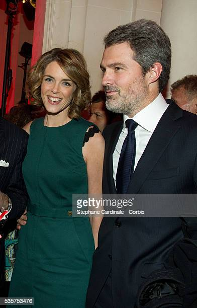 Julie Andrieu and Stephane Delajoux attend the TV Mag Anniversary 25th at Hotel Plaza Athenee in Paris
