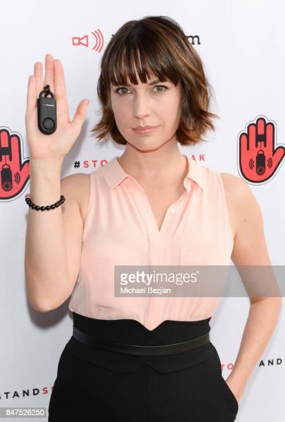 Julie Ann Emery attends iMaxAlarm pledges to #StopStandSpeak against Street Harassment at the GBK Pilot Pen Pre Awards Celebrity Lounge 2017 Day 1 on...