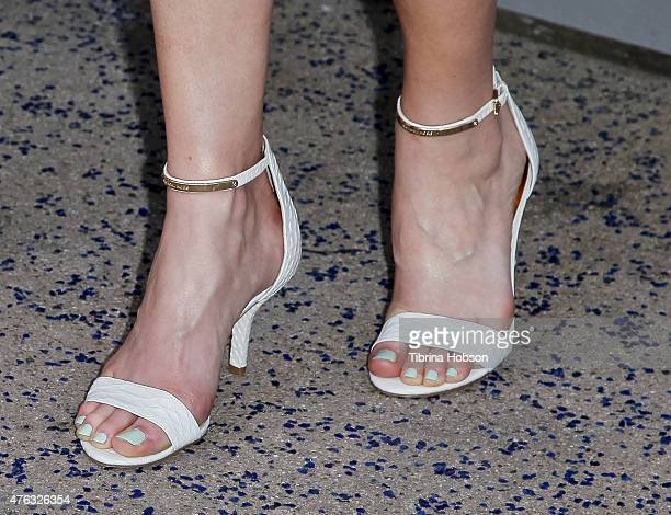 Julie Ann Emery fashion detail attends 'Matilda The Musical' opening night at Ahmanson Theatre on June 7 2015 in Los Angeles California