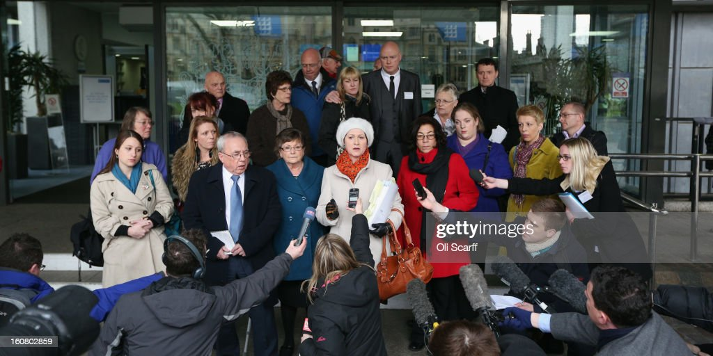 Julie Bailey (C), of the campaign group 'Cure the NHS', whose mother Bella, 86, died whilst she was a patient at Stafford General Hospital, speaks to the media outside the Queen Elizabeth II Conference Centre after reading the report of the Mid Staffordshire NHS Trust Foundation Public Inquiry on February 6, 2013 in London, England. The report examines the commissioning, supervisory and regulatory bodies in the monitoring of Mid Staffordshire hospital between January 2005 and March 2009. The report will be laid before Parliament at 11:30am today and will consider the reasons why serious problems at the Trust were not identified and rectified sooner, and identify lessons to be learnt for future patient care.