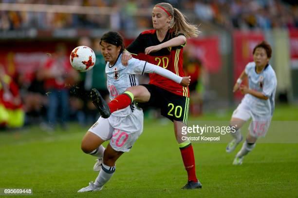 Julie Biesmans of Belgium challenges Ayumi Oya of Japan during the Women's International Friendly match between Belgium and Japan at Stadium Den...