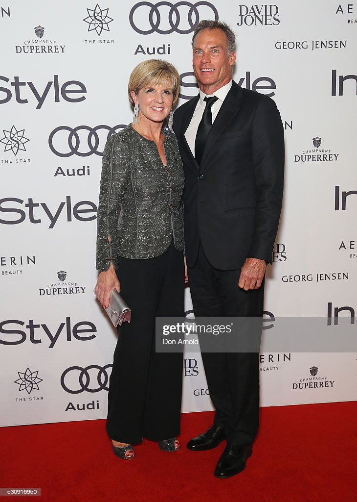 <a gi-track='captionPersonalityLinkClicked' href=/galleries/search?phrase=Julie+Bishop&family=editorial&specificpeople=1198450 ng-click='$event.stopPropagation()'>Julie Bishop</a> and David Panton arrive ahead of the InStyle and Audi Women of Style Awards at The Star on May 12, 2016 in Sydney, Australia.