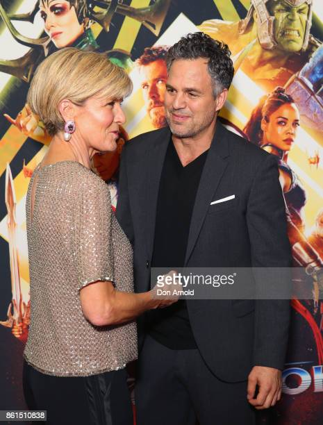 Julie Bishop and Mark Ruffalo arrive for the premiere screening of Thor Ragnarok Sydney at Fox Studios on October 15 2017 in Sydney Australia