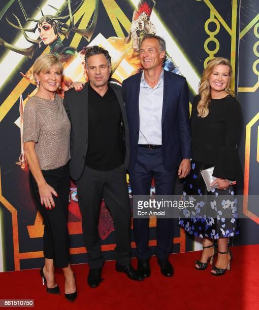 Julie Bishop Mark Ruffalo David Peyton and Kylie WatsonWheeler arrive for the premiere screening of Thor Ragnarok Sydney at Fox Studios on October 15...