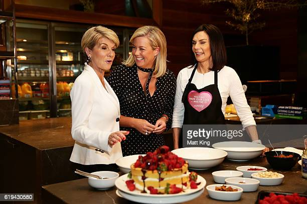 Julie Bishop Samantha Armytage and Carolyn Hartz take part in a cooking demonstration at the launch of Carolyn Hartz's new cookbook 'Sugar Free...