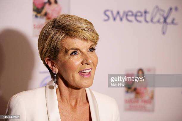 Julie Bishop speaks at the launch of Carolyn Hartz's new cookbook 'Sugar Free Baking' at Grand Hyatt Melbourne on October 31 2016 in Melbourne...