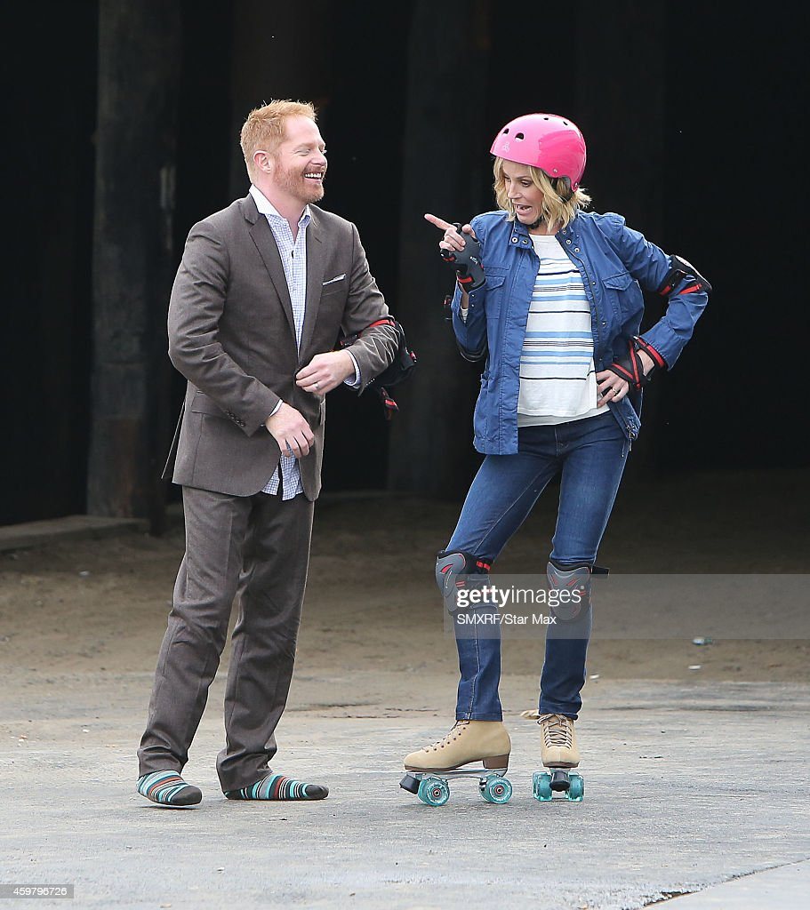 Julie Bowen and Jesse Tyler Ferguson on the set of 'Modern Family' are seen on December 1 2014 in Los Angeles California