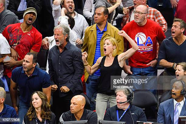 Julie Bowen attends a basketball game between the San Antonio Spurs and the Los Angeles Clippers at Staples Center on April 22 2015 in Los Angeles...