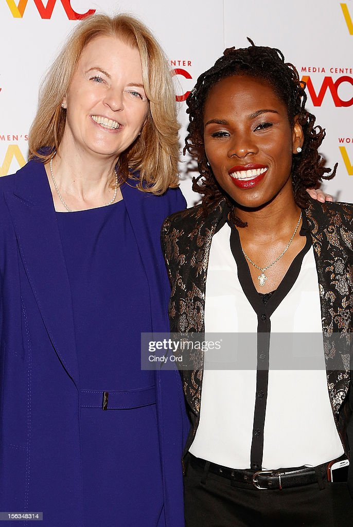 Julie Burton and Luvvie Ajayi attend the 2012 Women's Media Awards at Guastavino's on November 13, 2012 in New York City.