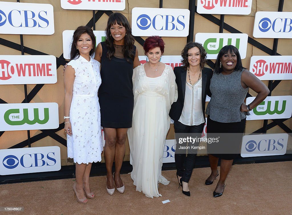 <a gi-track='captionPersonalityLinkClicked' href=/galleries/search?phrase=Julie+Chen&family=editorial&specificpeople=206213 ng-click='$event.stopPropagation()'>Julie Chen</a>, <a gi-track='captionPersonalityLinkClicked' href=/galleries/search?phrase=Aisha+Tyler&family=editorial&specificpeople=202262 ng-click='$event.stopPropagation()'>Aisha Tyler</a>, <a gi-track='captionPersonalityLinkClicked' href=/galleries/search?phrase=Sharon+Osbourne&family=editorial&specificpeople=203094 ng-click='$event.stopPropagation()'>Sharon Osbourne</a>, <a gi-track='captionPersonalityLinkClicked' href=/galleries/search?phrase=Sara+Gilbert&family=editorial&specificpeople=585732 ng-click='$event.stopPropagation()'>Sara Gilbert</a>, and <a gi-track='captionPersonalityLinkClicked' href=/galleries/search?phrase=Sheryl+Underwood&family=editorial&specificpeople=778885 ng-click='$event.stopPropagation()'>Sheryl Underwood</a> attend the CW, CBS And Showtime 2013 Summer TCA Party on July 29, 2013 in Los Angeles, California.