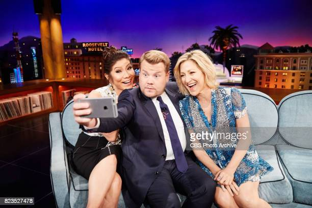 Julie Chen and Edie Falco chat with James Corden during 'The Late Late Show with James Corden' Tuesday July 25 2017 On The CBS Television Network