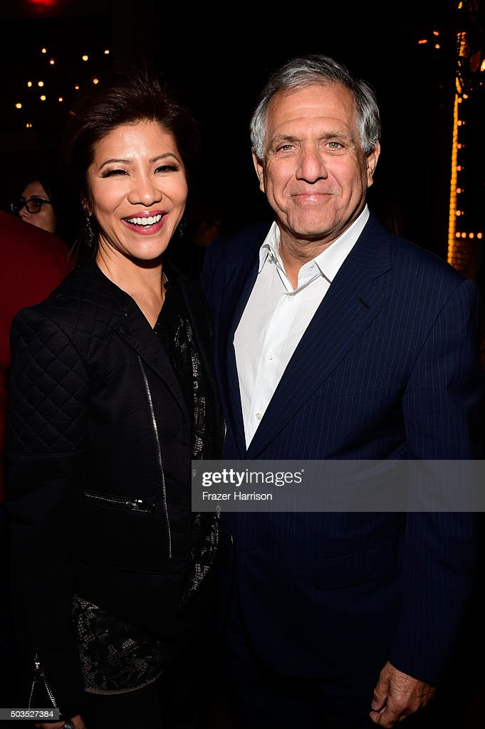 Julie Chen and President and CEO of CBS Leslie Moonves attend a celebration for Linda Perry's song 'Hands Of Love' from the film 'Freeheld' on...