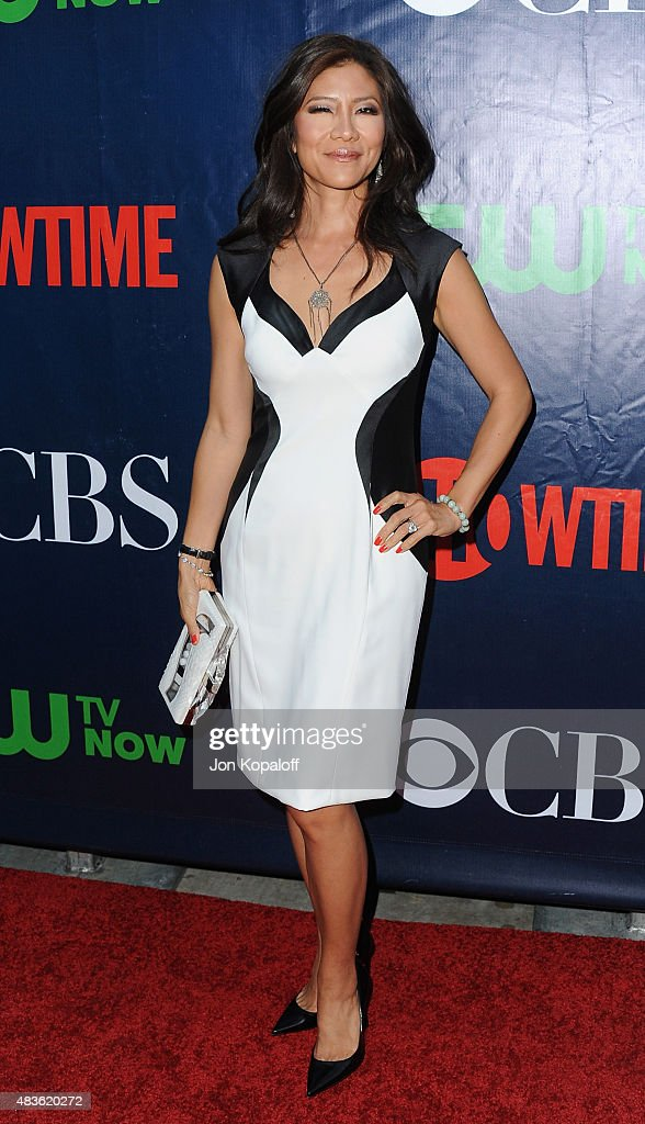 <a gi-track='captionPersonalityLinkClicked' href=/galleries/search?phrase=Julie+Chen&family=editorial&specificpeople=206213 ng-click='$event.stopPropagation()'>Julie Chen</a> arrives at CBS, CW And Showtime 2015 Summer TCA Party at Pacific Design Center on August 10, 2015 in West Hollywood, California.