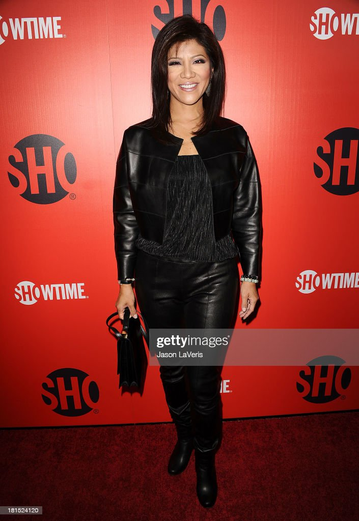 <a gi-track='captionPersonalityLinkClicked' href=/galleries/search?phrase=Julie+Chen&family=editorial&specificpeople=206213 ng-click='$event.stopPropagation()'>Julie Chen</a> attends the Showtime Emmy eve soiree at Sunset Tower on September 21, 2013 in West Hollywood, California.