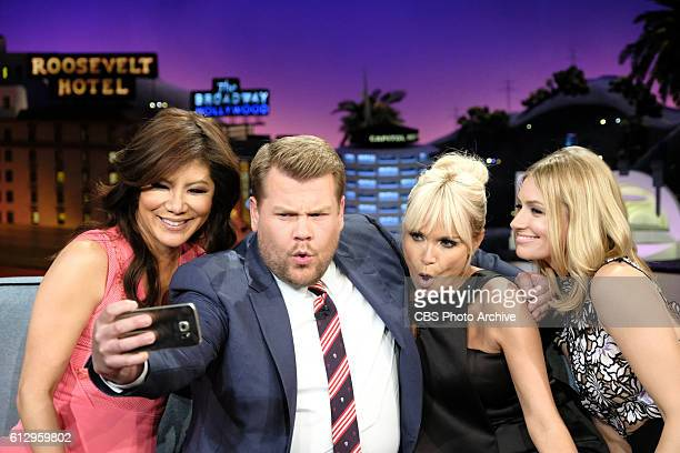 Julie Chen Kristin Chenoweth and Beth Behrs chat with James Corden during 'The Late Late Show with James Corden' Wednesday October 5th 2016 On The...