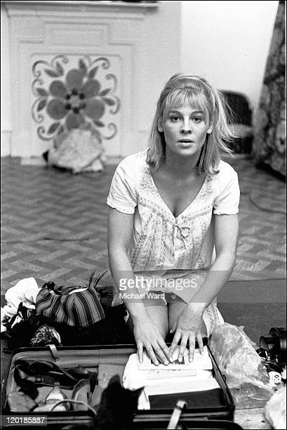 Julie Christie packing her suitcase to travel for filming Dr Zhivago 1964