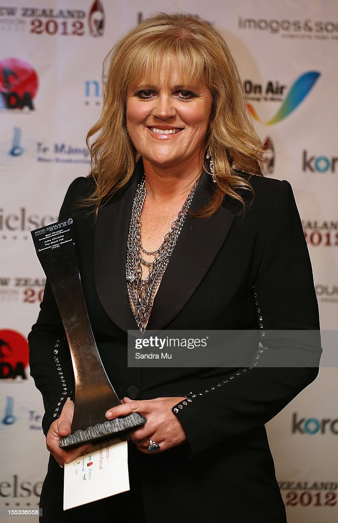 Julie Christie poses with her award for Best Director Enterainment/Factual during the New Zealand Television Awards at the Langham Hotel on November 3, 2012 in Auckland, New Zealand.