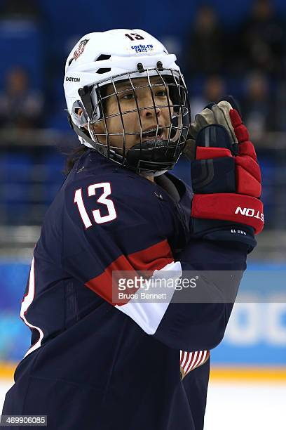 Julie Chu of the United States looks on in the third period against Sweden during the Women's Ice Hockey Playoffs Semifinal game on day ten of the...