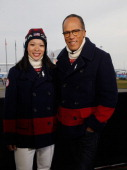 Julie Chu of the USA Women's Hockey team poses with Lester Holt on the set of the NBC TODAY Show wearing the Ralph Lauren outfits to be worn at the...