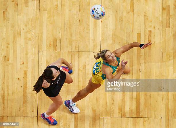 Julie Corletto of the Diamonds competes with Bailey Mes of New Zealand uring the 2015 Netball World Cup match between Australia and New Zealand at...