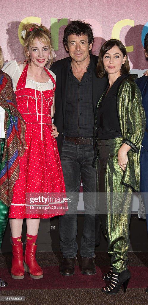 Julie Depardieu, Patrick Bruel and Emmanuelle Beart attend the 'Les Yeux Jaunes Des Crocodiles' Paris Premiere at Cinema Gaumont Marignan on March 31, 2014 in Paris, France.