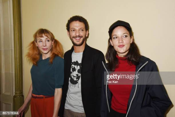 Julie Depardieu Vincent Dedienne and singer Jain attend the Agnes B Show as part of the Paris Fashion Week Womenswear Spring/Summer 2018 on October 3...