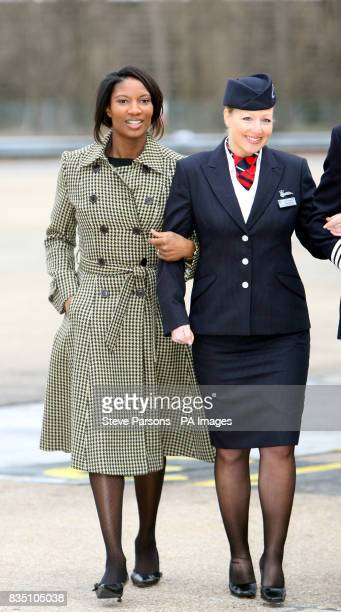 Julie Driffield and Denise Lewis during the launch the BA Great Britons programme at the British Airways Engineering Base at Heathrow Airport