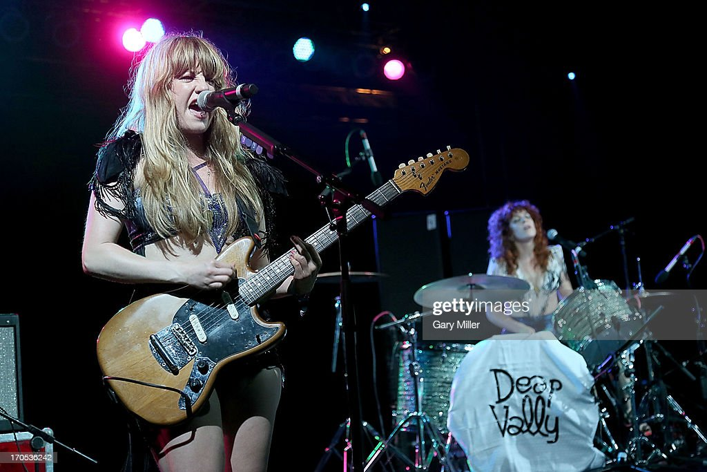 Julie Edwards (L) and Lindsey Troy of Deap Vally perform during the 2013 Bonnaroo Music & Arts Festival on June 13, 2013 in Manchester, Tennessee.