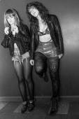 Julie Edwards and Lindsey Troy of Deap Vally pose backstage after performing during the bands November 2013 UK tour at O2 Academy on November 7 2013...