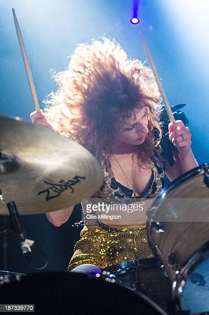 Julie Edwards of Deap Vally performs during the bands November 2013 UK tour at 02 Academy on November 7 2013 in Birmingham England