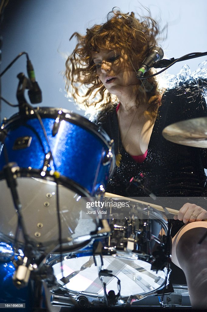 Julie Edwards of Deap Vally performs on stage in concert at Razzmatazz on March 20, 2013 in Barcelona, Spain.