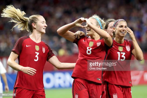 Julie Ertz of the USA celebrates after scoring a goal against the Korea Republic at the MercedesBenz Superdome on October 19 2017 in New Orleans...
