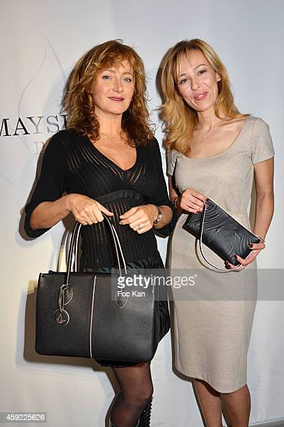 Julie Ferrier and Mayshad Luxury founder Nezha Alaoui attend the 'Mayshad Luxury Bag BFF' Launch Party At Park Hyatt Vendome on November 18 2014 in...