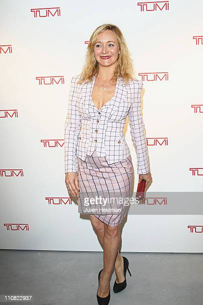 Julie Ferrier attends the 'Tumi TagLimited Edition' cocktail launch at Galerie Acte 2 on March 24 2011 in Paris France