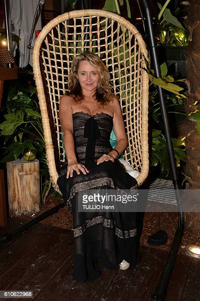 Julie Ferrier poses for Paris Match in the brazilian party at the Hotel Prince de Galles on june 29 2016 in Paris France