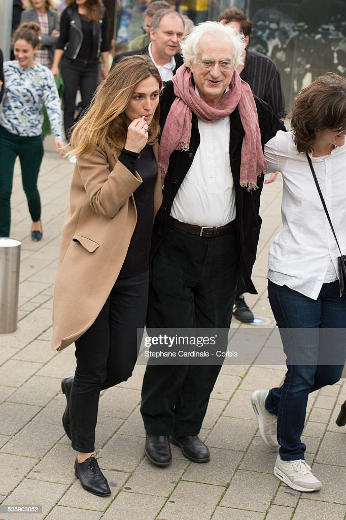 Julie Gayet and Bertrand Tavernier attend the Remake of the 1st Movie of the Lumiere Brothers , during the 5th Lumiere Film Festival, in Lyon.