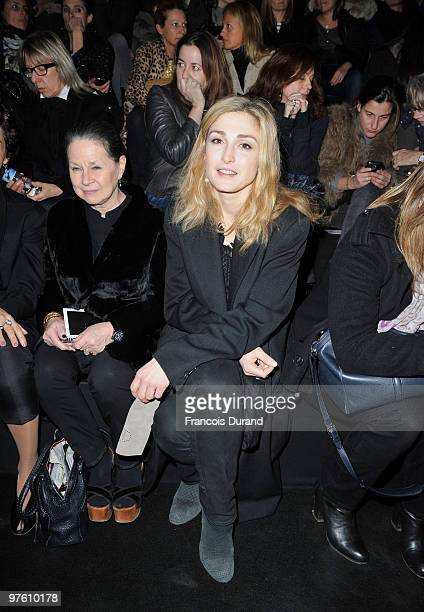 Julie Gayet attends the Hermes Ready to Wear show as part of the Paris Womenswear Fashion Week Fall/Winter 2011 at Halle Freyssinet on March 10 2010...