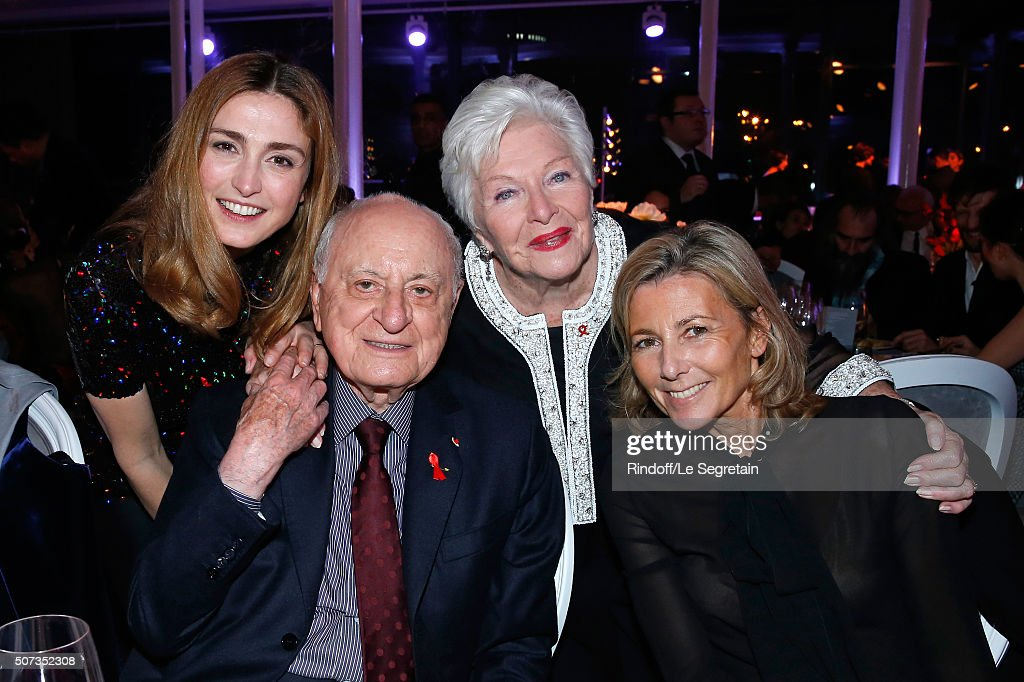 Julie Gayet, Pierre Berge, Line Renaud and Claire Chazal attend the Sidaction Gala Dinner 2016 as part of Paris Fashion Week. Held at Pavillon d'Armenonville on January 28, 2016 in Paris, France.
