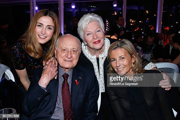 Julie Gayet Pierre Berge Line Renaud and Claire Chazal attend the Sidaction Gala Dinner 2016 as part of Paris Fashion Week Held at Pavillon...
