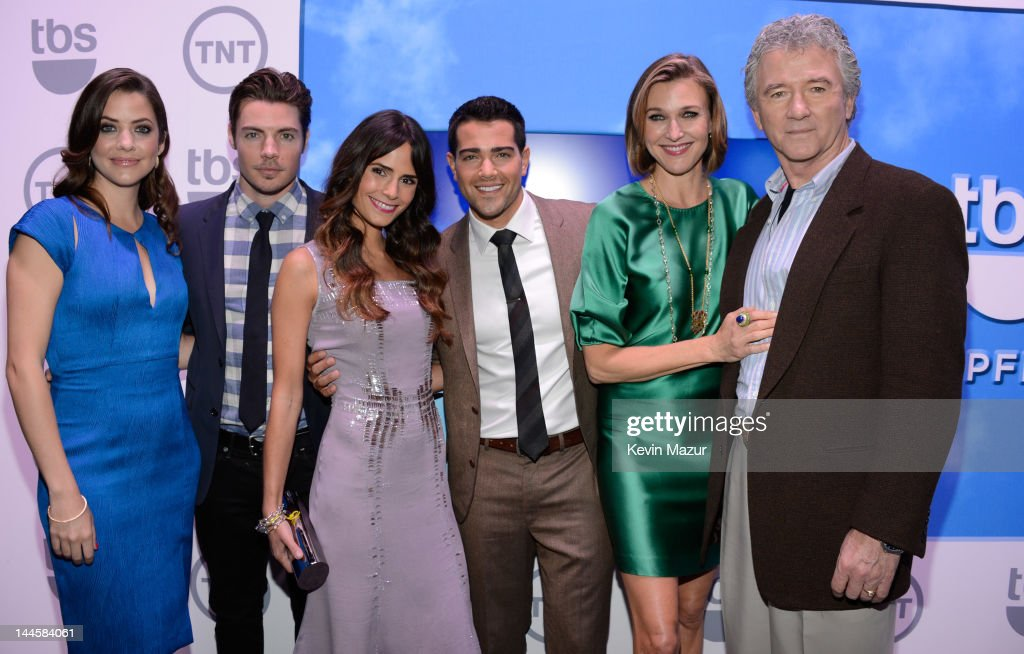Julie Gonzalo, Josh Henderson, Jordana Brewster, Jesse Metcalfe, Brenda Strong and Patrick Duffy attend the TNT/ TBS Upfront 2012 at Hammerstein Ballroom on May 16, 2012 in New York City. 22362_001_0064.JPG