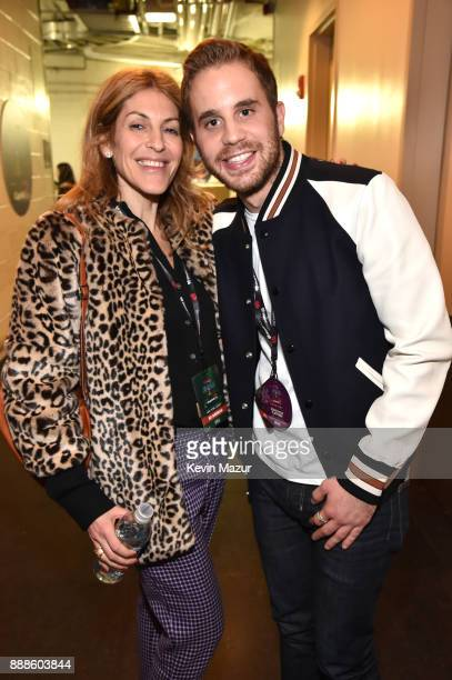 Julie Greenwald and Ben Platt attend Z100's Jingle Ball 2017 backstage on December 8 2017 in New York City