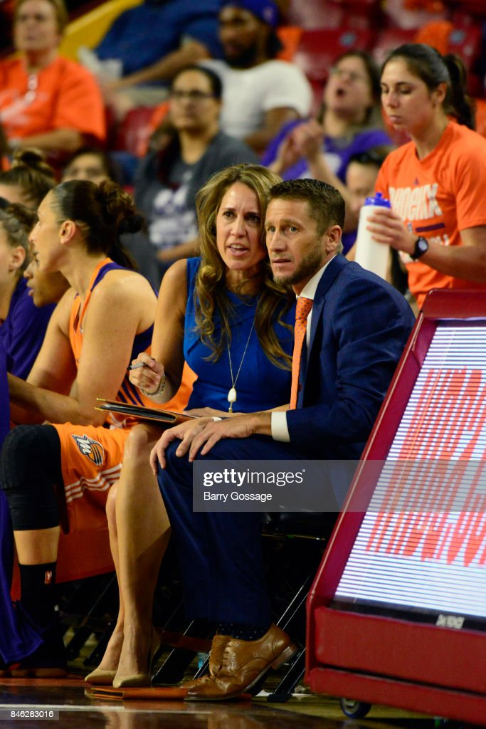 Julie Hairgrove and Todd Troxel of the Phoenix Mercury look on during the game against the Connecticut Sun in Round One of the 2017 WNBA Playoffs on September 6, 2017 at Arizona State University Wells Fargo Arena in Tempe, Arizona.