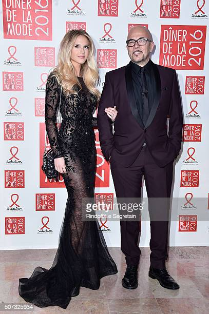 Julie Hantson and Pascal Obispo attendsthe Sidaction Gala Dinner 2016 as part of Paris Fashion Week on January 28 2016 in Paris France