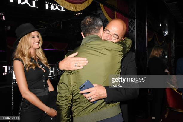 Julie Hantson Obispo Pascal Osbipoand Youri Djorkaeff attend the HYT Watches Launch Party at VIP Room Theater on September 7 2017 in Paris France