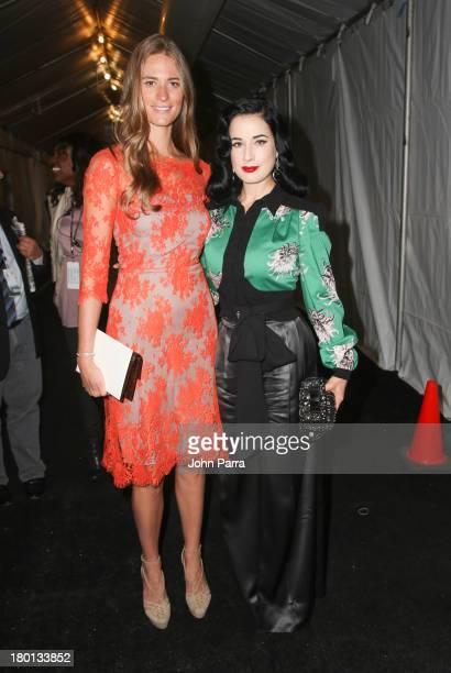 Julie Henderson and Dita Von Teese are seen around Lincoln Center during Spring 2014 MercedesBenz Fashion Week on September 9 2013 in New York City