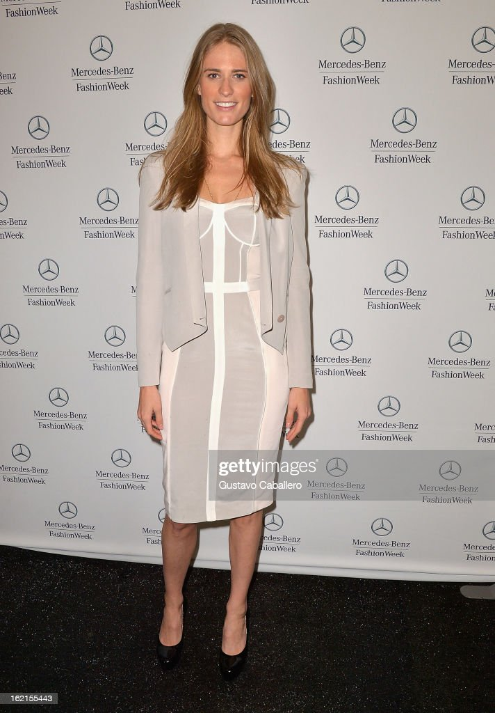Julie Henderson is seen during Fall 2013 Mercedes-Benz Fashion Week at Lincoln Center for the Performing Arts on February 8, 2013 in New York City.