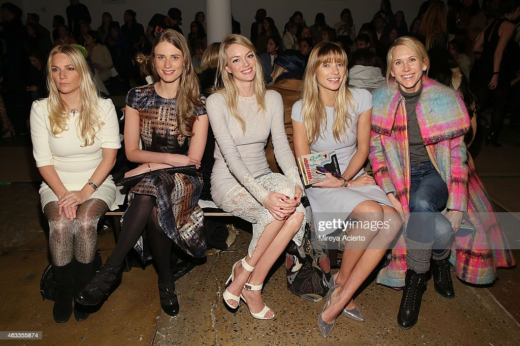 Julie Henderson Lindsay Ellingson Jessica Hart and Indre Rockefeller attend Wes Gordon runway show during MADE Fashion Week Fall 2015 at Milk Studios...